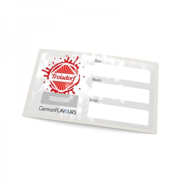 Troisdorf Selbstmischer-Etikett für Leerflaschen
