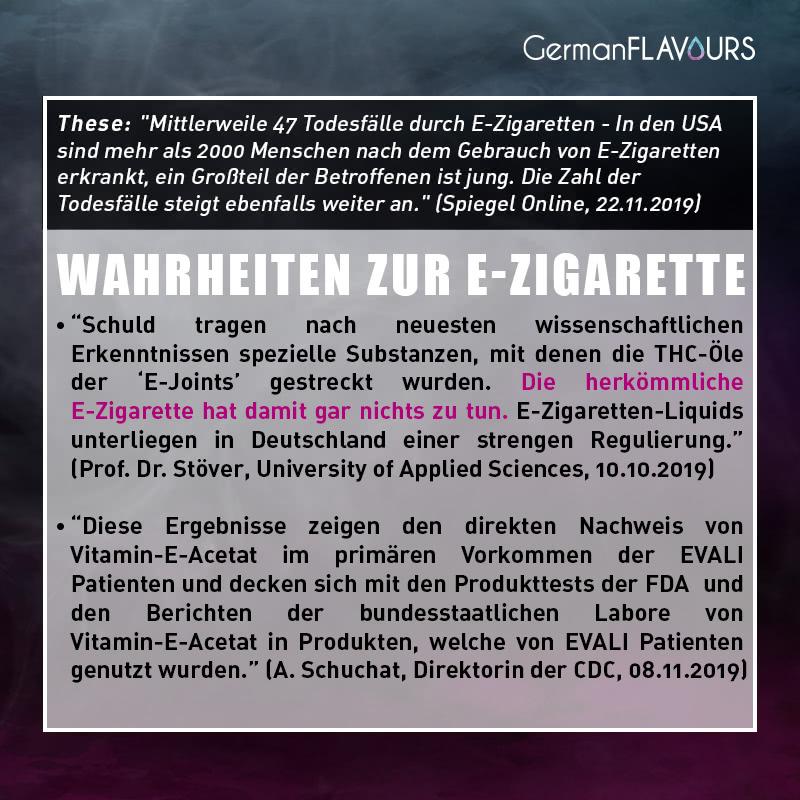 Behauptung: Tote und Kranke durch E-Zigaretten